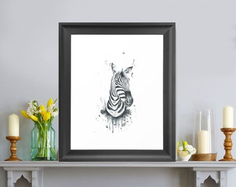 Zebra Watercolour Print
