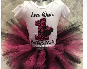 Handmade zebra print Minnie Mouse 1st first birthday tutu outfit