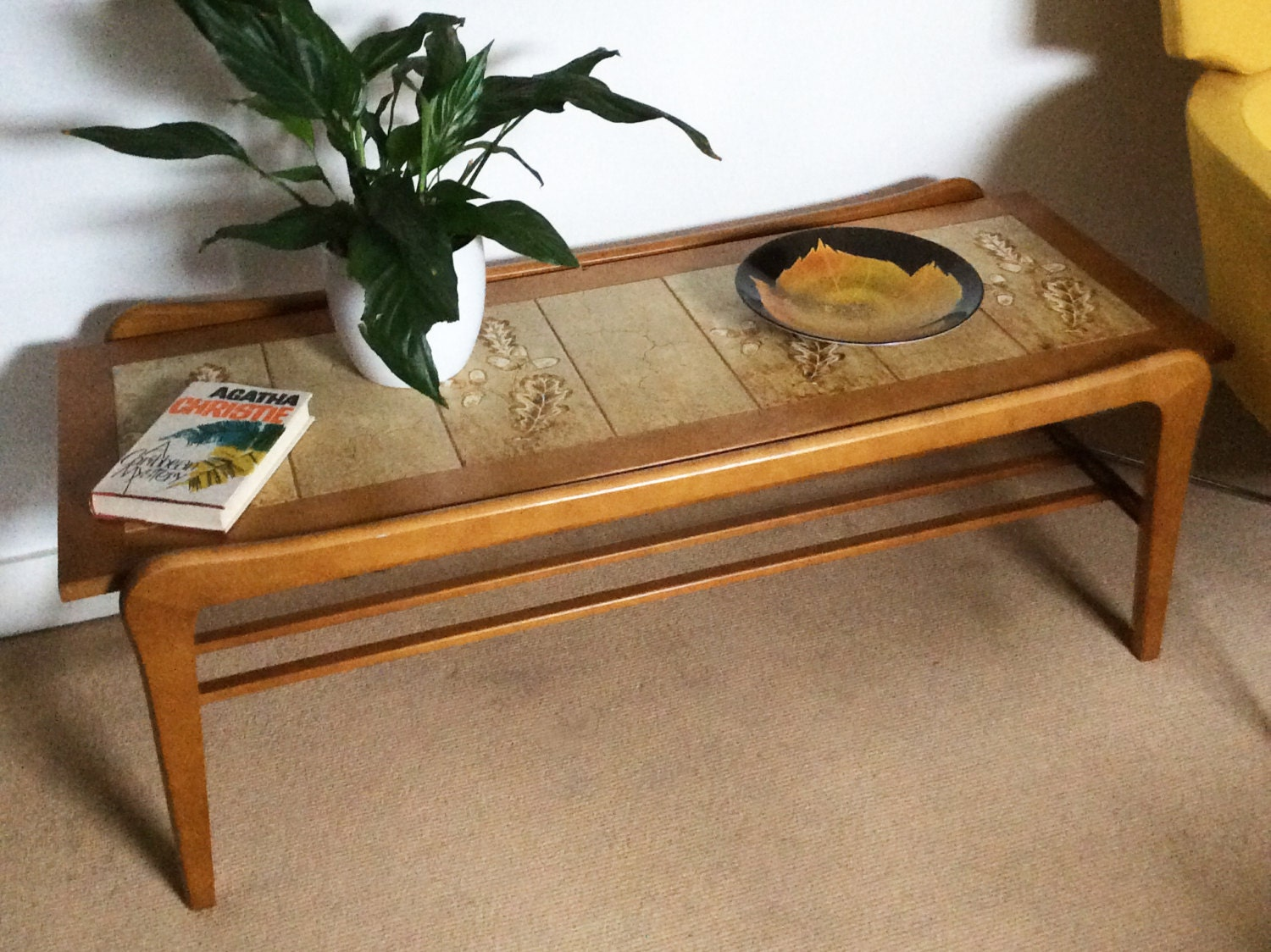 1960s 70s teak tiled top coffee table retro coffee table for Coffee tables 70s
