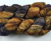 hand dyed sock yarn, fingering weight, superwash merino wool and nylon, multi-colorway GRAPE TOFFEE