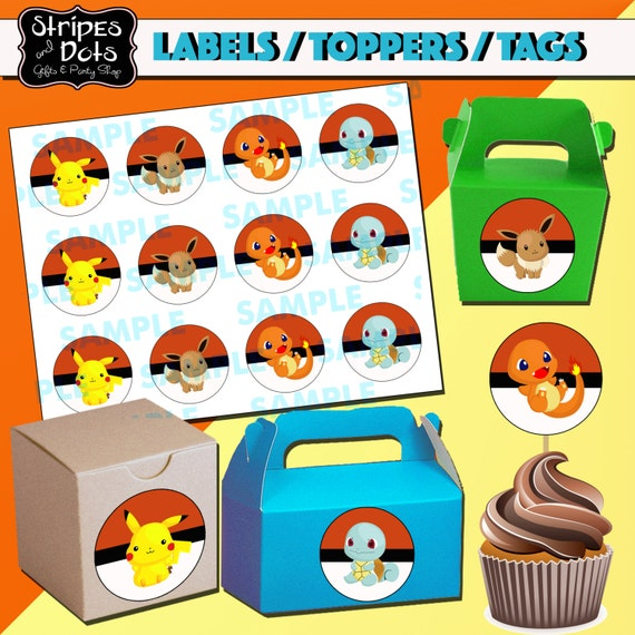 graphic regarding Pokemon Cupcake Toppers Printable identified as Pokemon Birthday Occasion Printable Tags and Labels Birthday