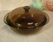 Pyrex Amber Visionware Round Smoke Brown 1 1/2 Liter Casserole Dish 023 & Cover 623 C Fireside Collection