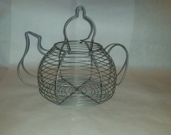 Wire Egg Basket Tea Cup Shape Country Farmhouse Country Decor