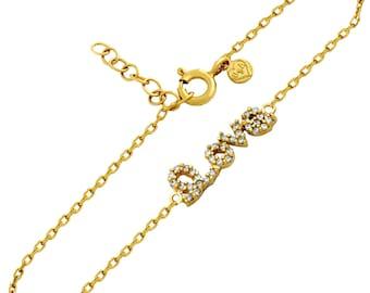 Love bracelet. Cursive love bracelet. Sterling silver cz love bracelet. Adjustable cursive love bracelet. Gold plated silver love bracelet.