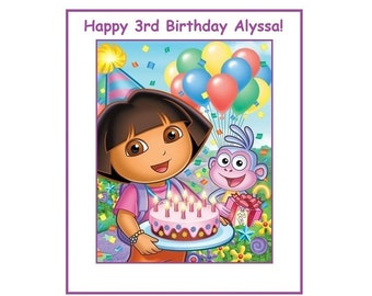 8 PERSONALIZED Dora The Explorer Party Bag Labels, Birthday Stickers, Custom Made