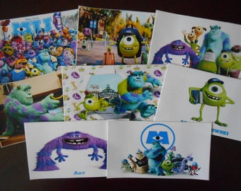 8 Printed Monsters University Stickers, Birthday Party Favors