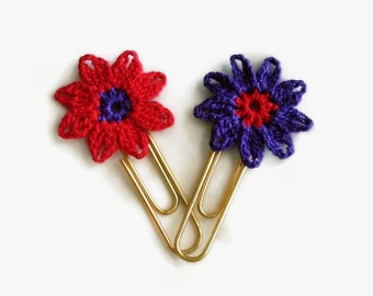 Purple & Red Crochet Paper Clips, Set of TWO, Planner Clips, Flower Bookmark, When I Am Old,