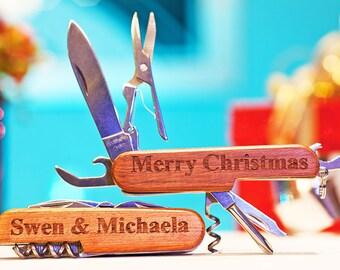 Personalized Wood Pocket Knife, Custom Double Side Engraved Multi-Tool, personalized Keepsake, Stocking Stuffer, Party Gift