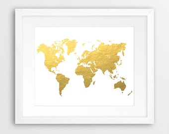 Gold world map etsy world map printable art world map silhouette gold foil texture gold world map print gumiabroncs Image collections