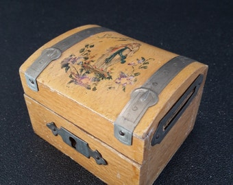 small french vintage wooden Lourdes piggy bank, french coin bank, Lourdes souvenir