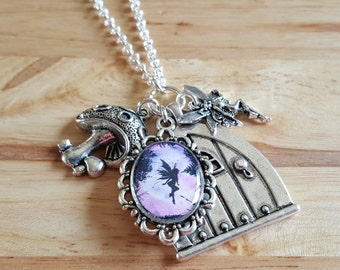 Purple fairies, fairy door charm necklace