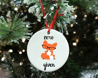 Funny christmas gift etsy fox christmas ornament funny christmas gift white elephant christmas gift negle Gallery