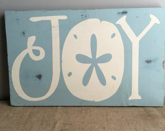 Beach House Decor - Beach Decor - Coastal Christmas Decor - JOY - Sand dollar - Coastal Decor - Coastal Christmas Wood Sign