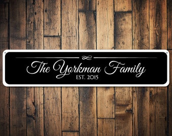 Last Name Sign, Personalized Established Date Sign, Custom Family Name Sign, Wedding Decor, Metal Wedding Sign - Quality Aluminum ENS1001291
