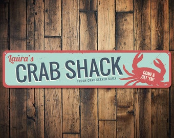Personalized Crab Shack Beach House Name Sign - Quality Aluminum ENS1001200