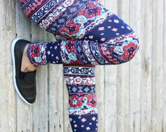womens leggings, womens tights, flower printed leggings, 4th of July womens printed leggings, colorful leggings red,white and blue, summer