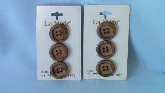 Basket Weaving Osi : Vintage la mode flat wood buttons tan quot set of