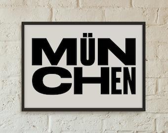 Munchen Poster, Munich Germany, Graphic Art, Poster, Print, Gift