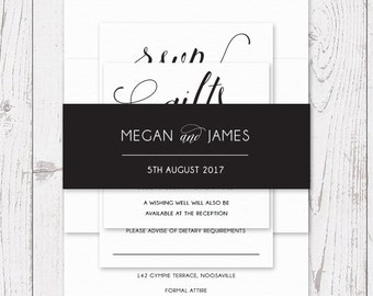 Wedding Invitation Suite, Printable or Professionally Printed, Calligraphy, Free Colour Changes, Wedding Invites, Lovely Romance