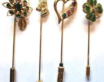 Lot of 8 Vintage Stick Pins Shamrock Heart Rhinestone Cloisonne