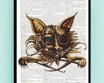 The Steampunk Pirate Cat with an Emerald Eye wall decoration, Printed on the old dictionary pages