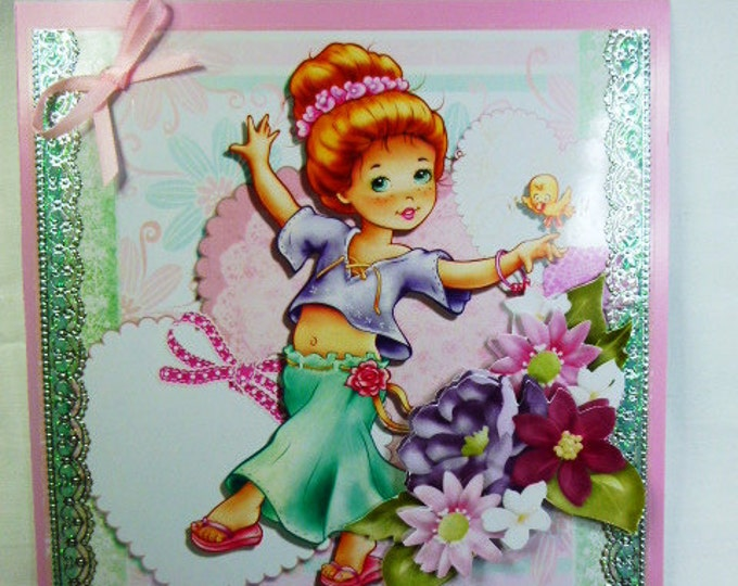 3D Decoupage, Birthday Card, Any Occasion, Greeting card, Female Any Age, 3 D Decoupage Flowers and Hearts, Girl Dancing, Daughter, Sister