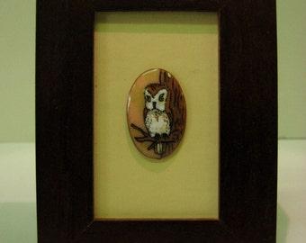 Frame mini bird, little owl, Northern Saw - whet Owl, little owl, enamel on copper, copper enamel frame