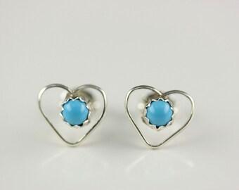 Native American Zuni Sterling Silver Turquoise Heart Post Earrings