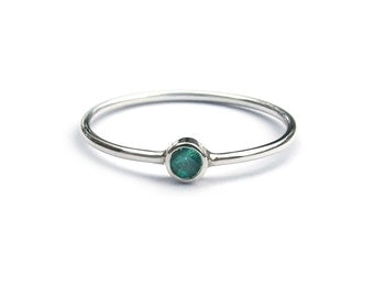 Silver + Emerald Ring / Australian Made Sterling Silver + Colombian Emerald Ring