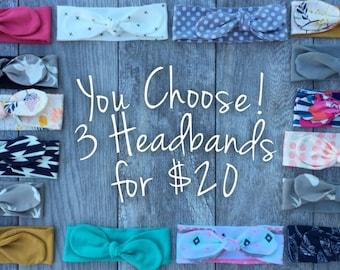 3 Topknot Headbands. Baby Girl. Baby Girl Headband. Baby Girl Headbands. Gift for Baby Girl. Trendy Baby Headbands.