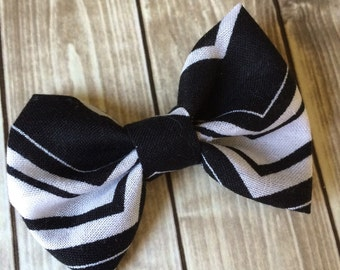 Black & White Chevron Fabric Bow - Headband or Alligator Clip