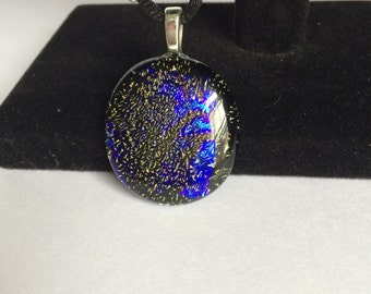 Purple and Gold Dichroic Fused Glass Pendant