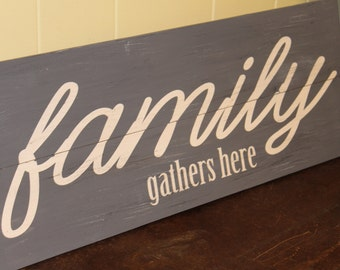 Family Gathers Here, Living Room, Welcome Hand Painted Sign