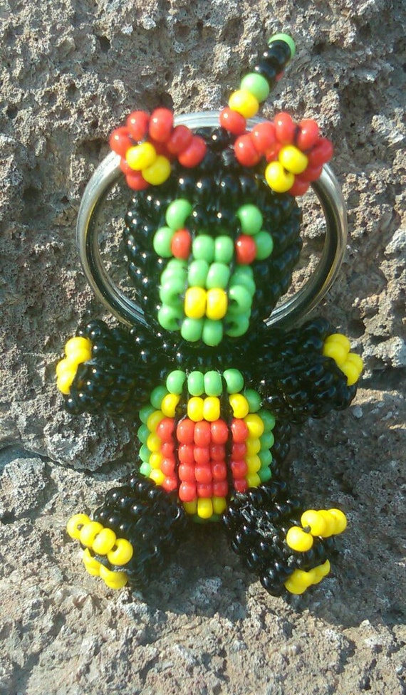 3D Handmade Beaded Bear Key-Chain / Key-ring - Czech Glass Seed Beads Black, Red, Yellow and Green