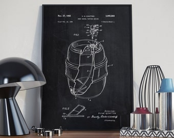 Beer Keg Patent Print, Beer Patent Print, Beer Poster, Bar Decor, Home Decor, Patent Print - DA0112