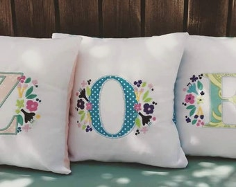 Floral Alpha Pillow Monogram Initial Pillow for Baby Girls Tweens and Teens // 12x12