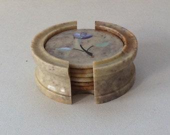 Vintage Marble Inlay Coaster Set / Marble Tea Coasters / Mother of Pearl Inlay Marble Coasters