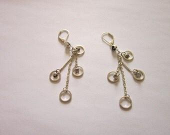 Vintage Steampunk Silvertone & Rhinestone Dangle Pierced Earrings