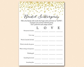 bridal scattergories, Gold Confetti Bridal Shower, Bachelorette, Wedding Shower BS46