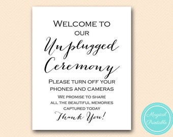 Unplugged Ceremony sign, Unplugged wedding sign, Wedding Reception Signage, No camera sign, Instant Download, Wedding decoration signs SN38