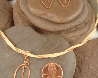 Copper Leaf Pendant, Necklace and Earring Set