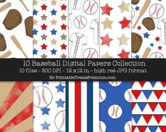 50% OFF SALE Baseball Digital Paper Pack
