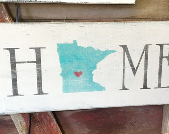 Minnesota Home Wall Art Wood Sign Handmade Made To Order MN Home