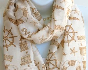 Nautical Print Infinity Scarf.Ivory/Beige Nautical Scarves.Sailing Scarf.Beach Scarf.Lighthouse Scarf.Summer Infinity Scarf.Summer Scarves