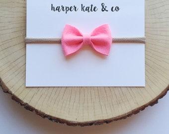 Bubblegum Pink, Mini Kate Bow : Baby Headbands, Felt Bow Headband, Baby Girl Bows, Nylon Headbands