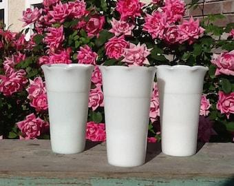 Milk glass vases, vintage, white