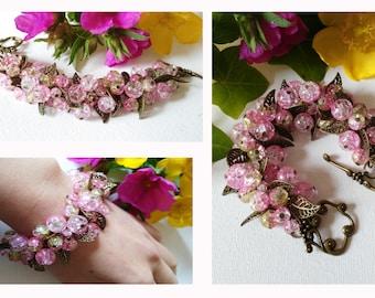 Pink beaded bracelet, handmade bracelet
