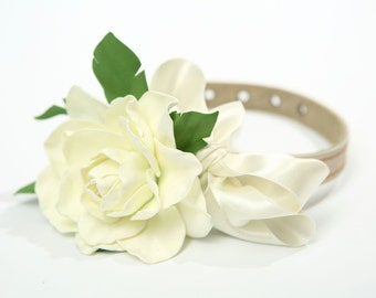 Wedding dog collar,Flower dog collar.Beautiful white dog collar with white rose and satin ribbon.Foam white rose and leather collar