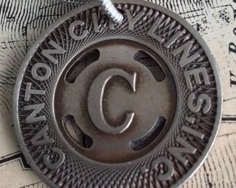 Sale Vintage Subway Token Canton City Necklace