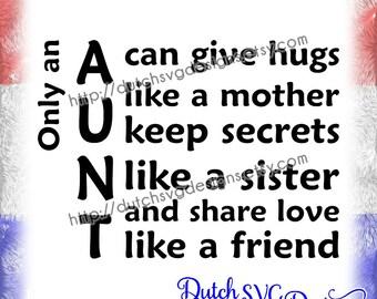 Text cutting file Aunt, in Jpg Png Studio3 SVG EPS DXF, Cricut & Silhouette, plotter datei, aunt niece nephew aunty auntie, glassblock, diy